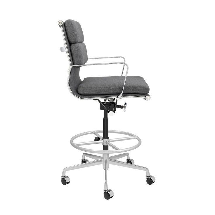 Soho soft pad drafting chair charcoal fabric laura