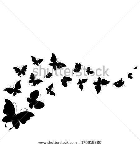 "BB Title: ""Butterfly Design."" Description: ""A bold black outline of butterflies  that flow across the design."" BB - butterflies design - stock vector"
