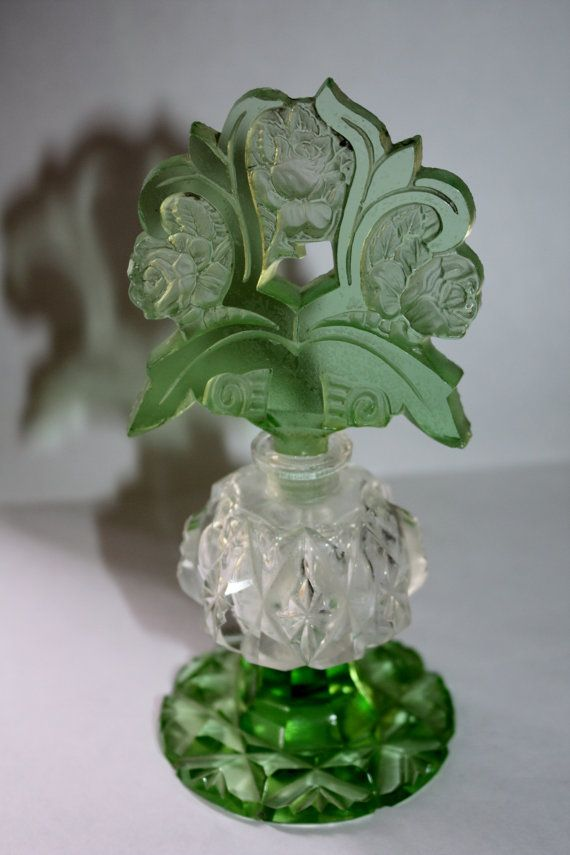 Art Deco Irice Czech Perfume Bottle Green Cut Glass Vanity Bottle 1920s This is a gorgeous vintage art deco W. Rice signed Irice Czech cut glass