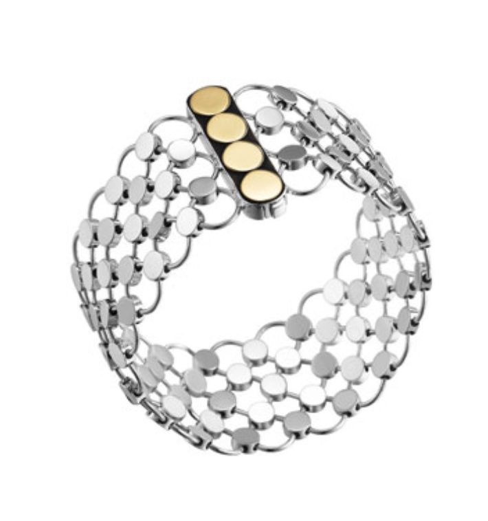 John Hardy Bracelet Sterling Silver 18K Gold Dot Chain Mail  NWT $1,200.00 #JohnHardy #Chain