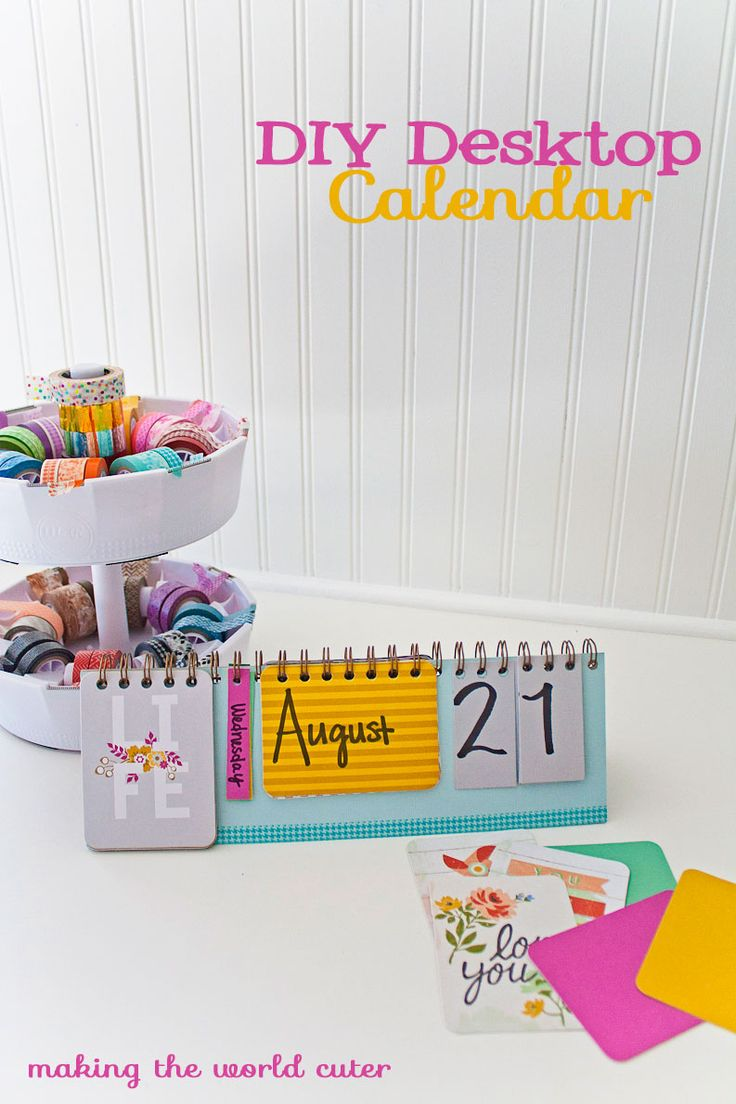Make a cute DIY desktop calendar using extra elements in your Albums Made Easy journaling card kits. Would make a great teacher gift for back to school!