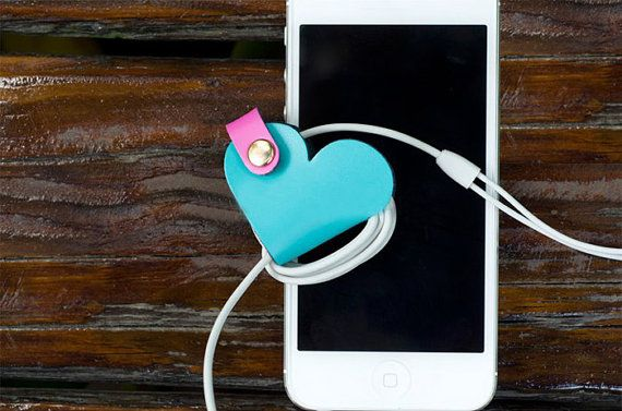 Leather Heart could Earbud Organizer, Cable Winder, Earpiece Organizer, Earphone and Cable Organizer, Earbud Holder, Earphone Cord Organizer on Etsy, $9.90