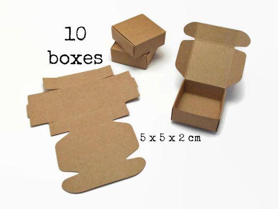 10 Kleine KRAFT BOX 5x5x2 cm (mini kraft box papier bruin karton doosje doos gift box verpakking sieraden oorbellen ring duurzaam cadeau)