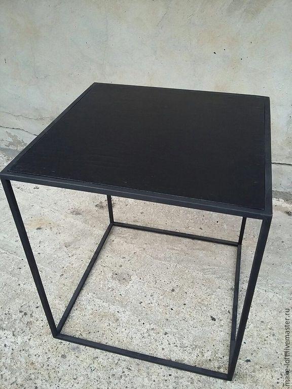 Купить или заказать Столик малый в стиле Лофт в интернет-магазине на Ярмарке Мастеров. Столик придиванный в стиле Лофт Размер 400х400х450 Столешница - фанера окраска в черный, матовый лак Каркас - пруток 10х10, окраска в черный Изготавливаем мебель на металлокаркасе в индивидуальных размерах по вашим размерам и образцам с фото. Столы, тумбы, консоли, журнальные столики, полки, стеллажи.