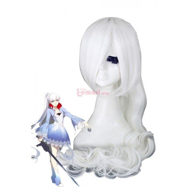 """RWBY """"White"""" Trailer  long ponytail cosplay wigs zy54"""