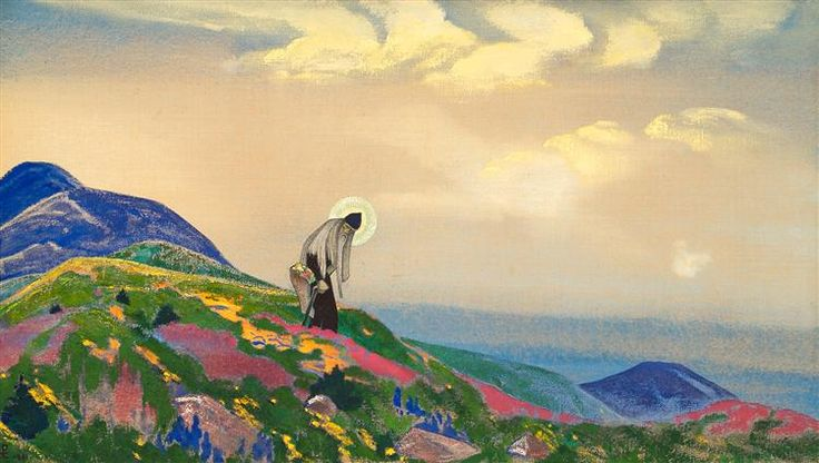 Saint Pantaleon the Healer, 1916 by Nicholas Roerich. Symbolism. religious painting. Tretyakov Gallery, Moscow, Russia