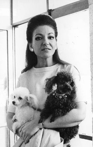 Maria Callas and her Poodles Pixie and Djeddas.