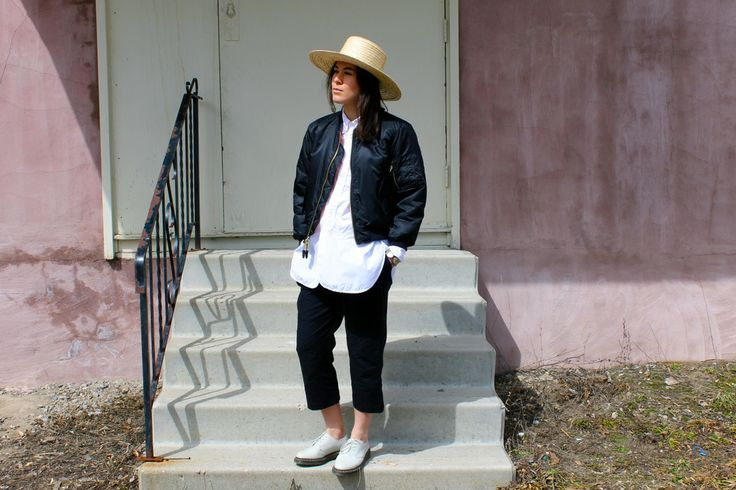 Steph Hoff, Army surplus jacket, Engineered Garments shirt, Obakki pants , Dr. Martens shoes and handmade hat. Fashion,