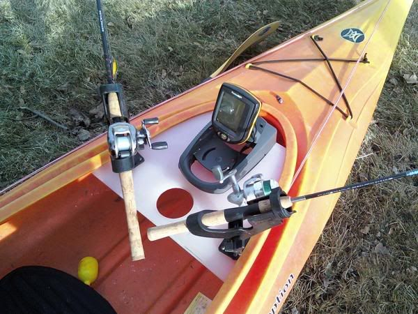 Here are the photos of my inexpensive, but very practical fishing console made from an $8 cutting board...   The top kayak (solid yellow) is a sit on t...