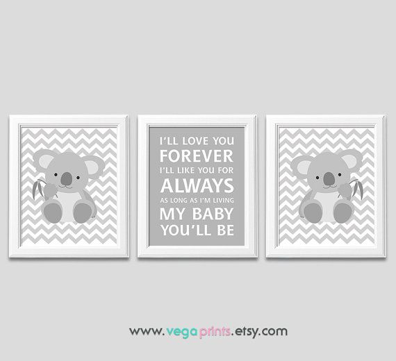 Grey and white koala nursery art print UNFRAMED  by VegaPrints