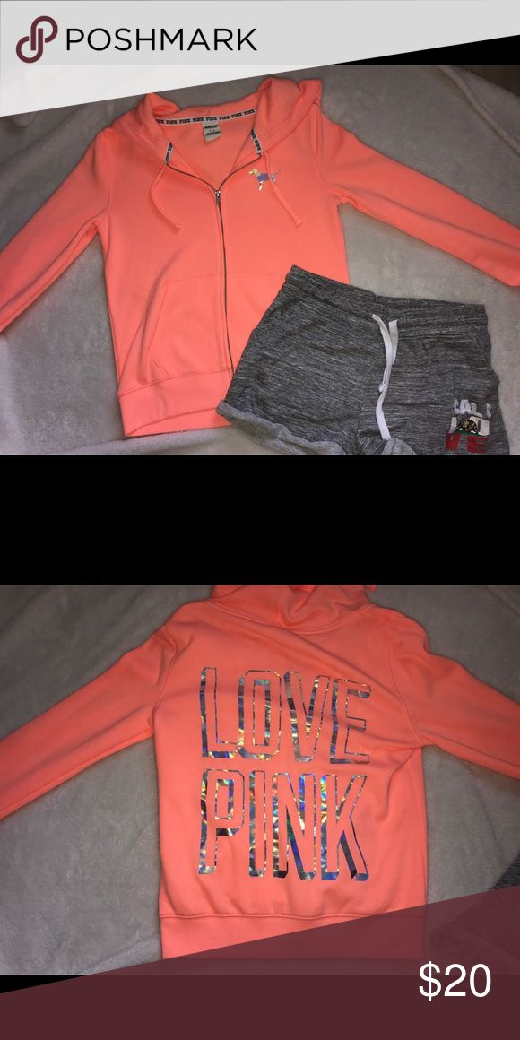 """PINK Sunset Orange Hoodie Bright orange zip up hoodie with the phrase """"LOVE PINK"""" on the back in reflective letters PINK Victoria's Secret Tops Sweatshirts & Hoodies"""