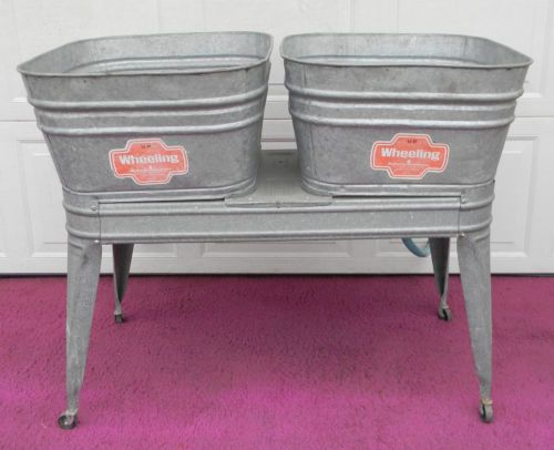 Vintage Wheeling Galvanized Double Wash Tub w/ Stand Beer Cooler Ice ...