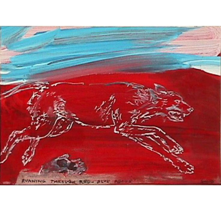 LEON GOLUB Running Through Red-Blue Above, 1999-2000 Mixed media on paper 6 1/10 × 8 1/10 in 15.5 × 20.5 cm