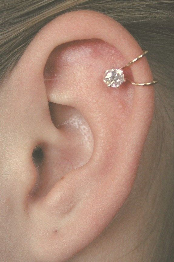 CZ Ear Cuff  with 4mm Cubic Zirconia - Sterling Silver or 14K Gold filled - SINGLE SIDE. $22.00, via Etsy.
