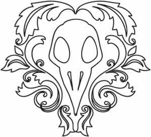 Dark and natural, this bird skull surrounded by damask scrollwork foliage makes an elegant embellishment for jackets, bags, pillows, and more. Downloads as a PDF. Use pattern transfer paper to trace design for hand-stitching.