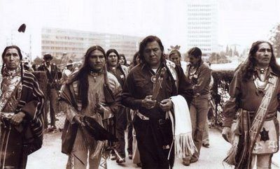 """This picture is showing Indian people walking the """" Longest Walk"""" in 1978 led by Dennis Banks an important AIM leader """" to commemorate the Trail of Bro ken Treaties protest of 1972."""" ( by Snuffy 22)"""