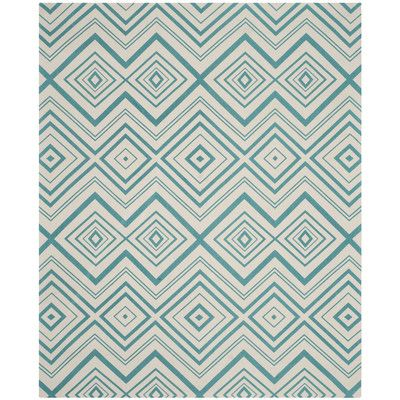 Zipcode Design Blair Ivory & Light Teal Area Rug Rug Size: 8' x 11'