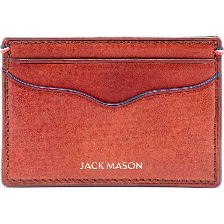 Jack Mason Pebble Grain Leather Card Case | Burnt Orange