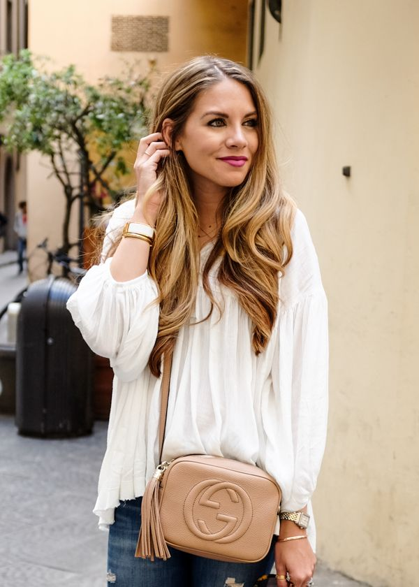 White Peasant Blouse and Gucci Soho Disco Bag
