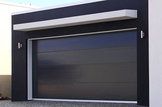 Black insulated panel contemporary garage doors