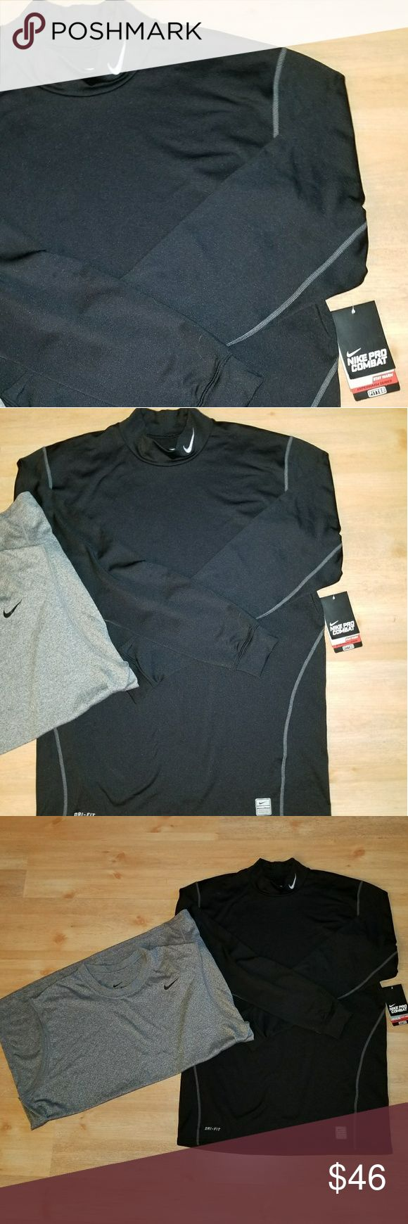 2pc Nike Bundle Nike Pro Combat mock neck long sleeve fitted, NWT.  Also, sleeveless gray dri fit in very good condition. Nike Shirts