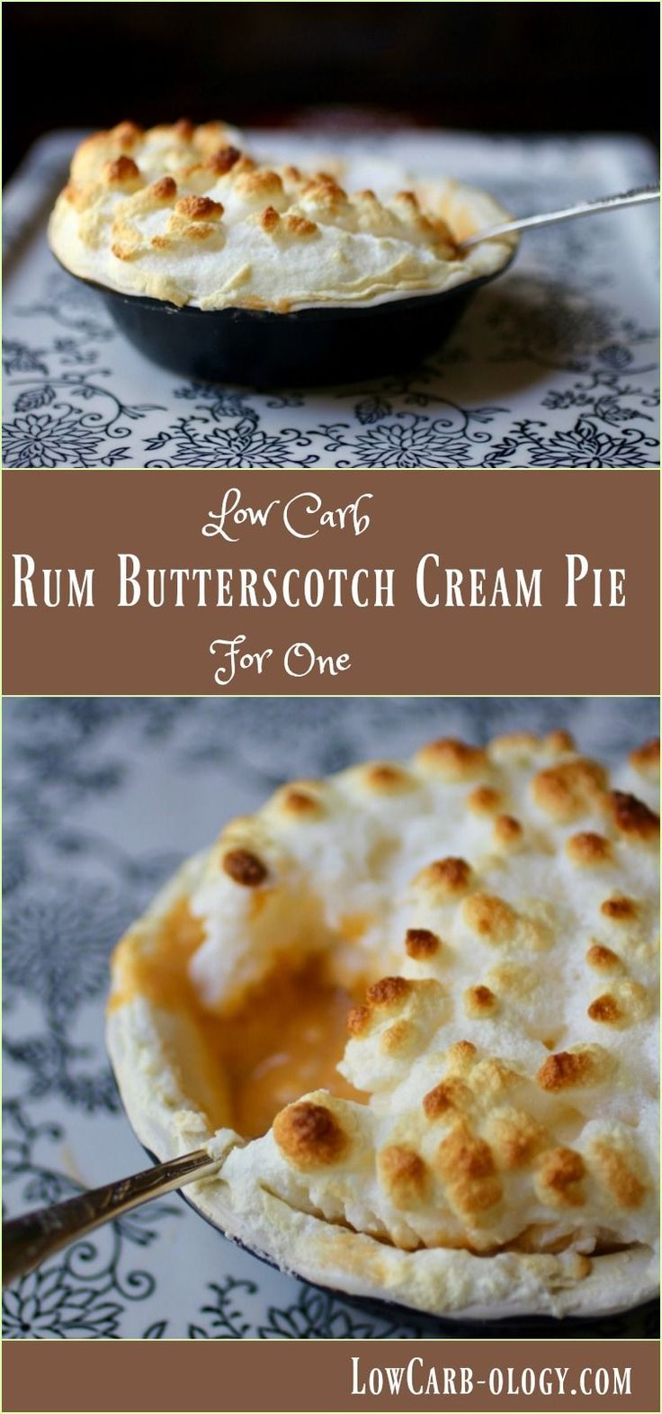 This Rum Butterscotch Cream Pie recipe is low carb and sugar free. It's so creamy - Atkins friendly with just over 3 net carbs. From Lowcarb-ology.com
