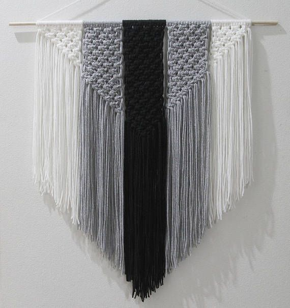 Black White And Gray Macrame Wall Hanging Macrame Wall Hanging