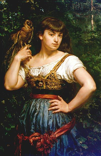 Portrait of the Artist's Daughter Helena by Jan Matejko (Polish 1873-1878)