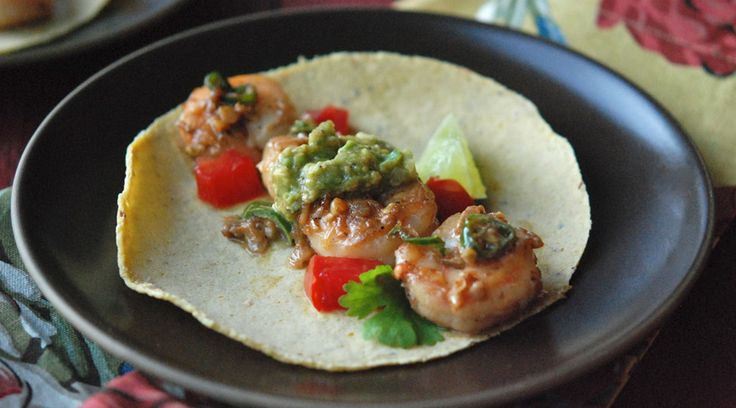 Shrimp with Green Chiles & Avocado-Tomatillo Sauce.....server with paleo friendly tortillas