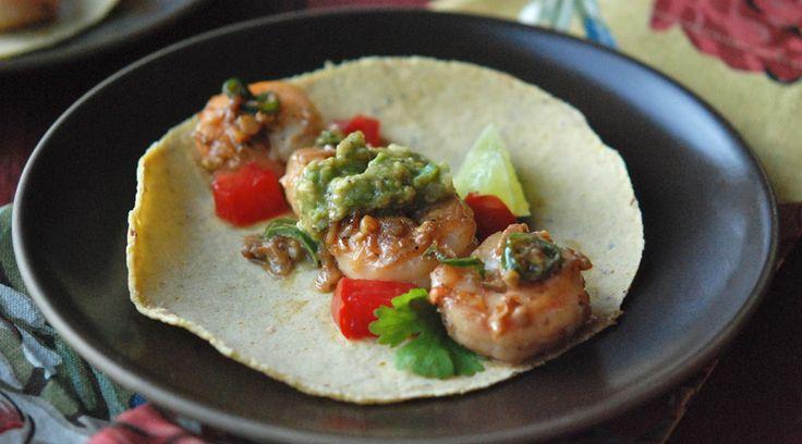Shrimp with Green Chiles & Avocado-Tomatillo Sauce.....server with paleo friendly tortillas
