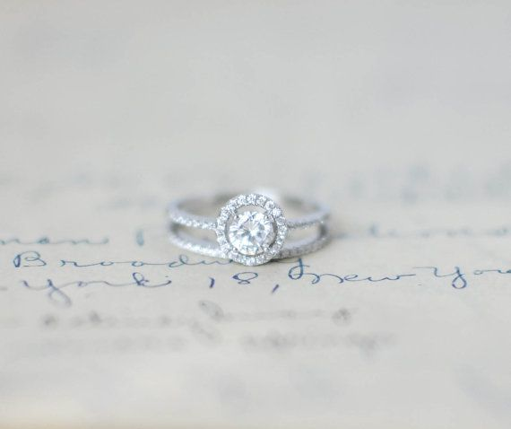 Sterling Sliver Ring   Engagement Ring Set  Round by MochaRings, $50.00