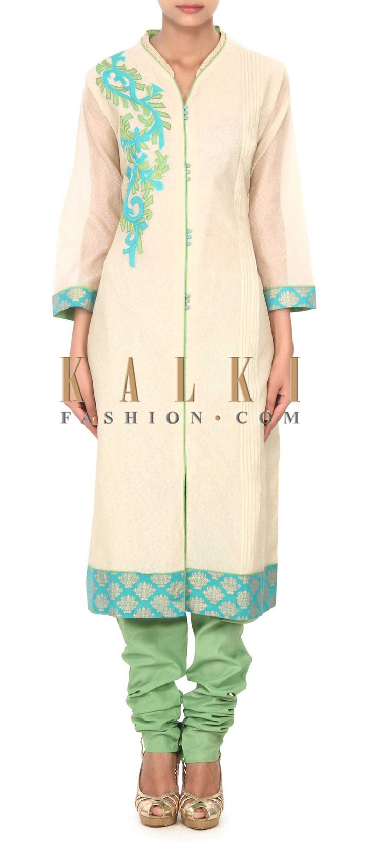 Buy this Beige unstitched suit adorn in applique embroidery only on Kalki