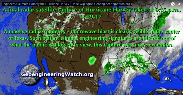"""Hurricane Harvey was produced artificially using geoengineering.  The storm was locked in place over the Houston area using microwave transmission stations in Texas and Louisiana.  Chemical aerosols sprayed into the atmosphere allow this to be done.  This is """"weather warfare"""" by the Illuminati on the public, not natural """"climate change""""."""