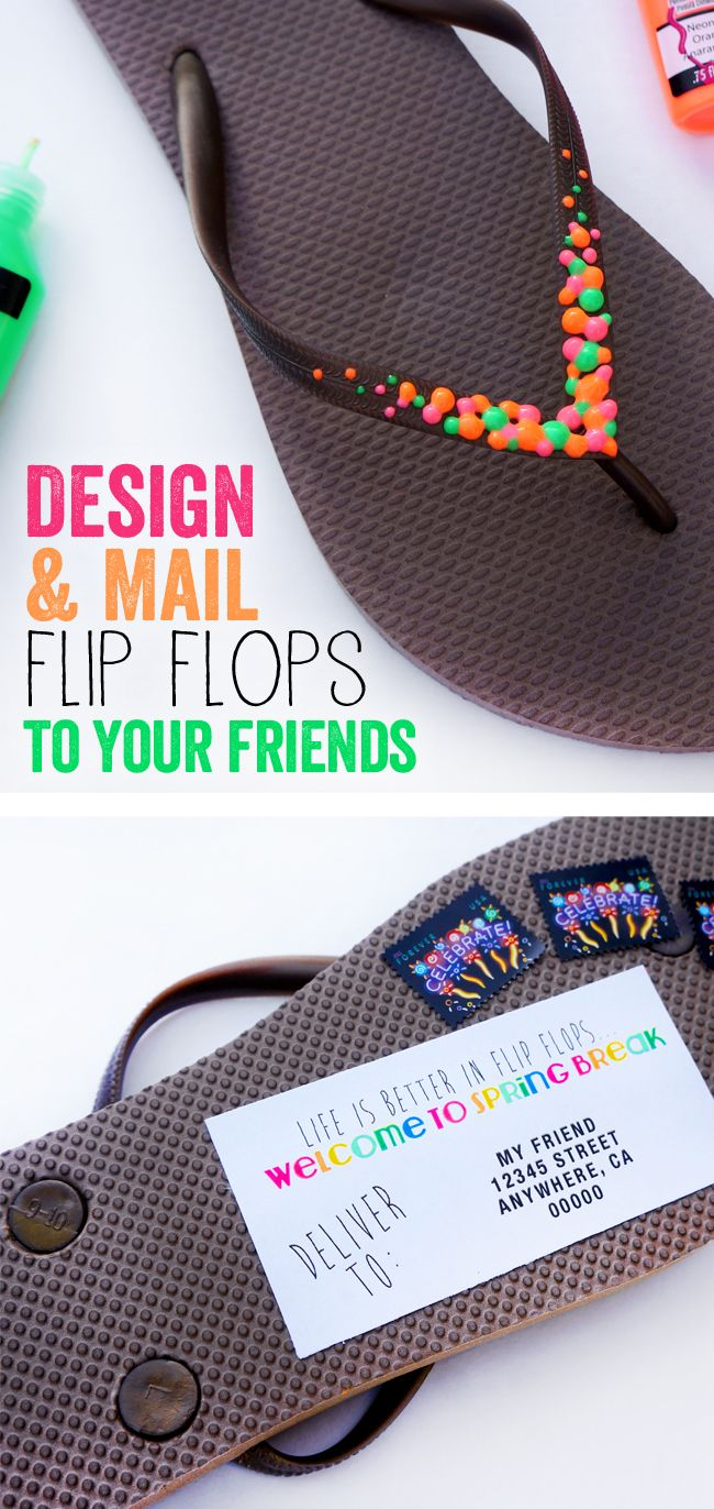 Fun DIY Flip Flops to Make and Mail- grab some JonesTones paints or some Lumiere 3D to bling out your flip flops for spring!