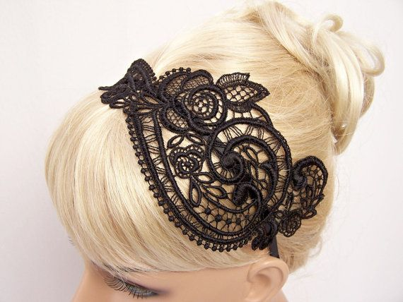 Anemone lace headband black by StitchFromTheHeart on Etsy, $29.00