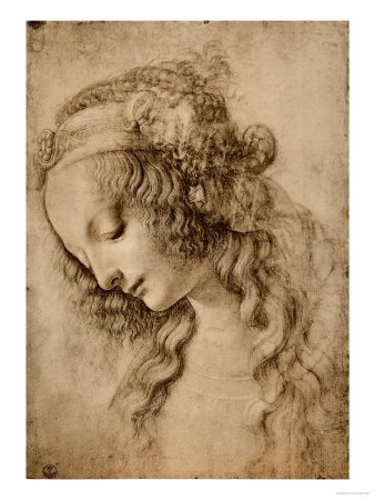 Study for the Face of the Virgin Mary of the Annunciation - Leonardo da Vinci (seen at the Louvre, Paris)