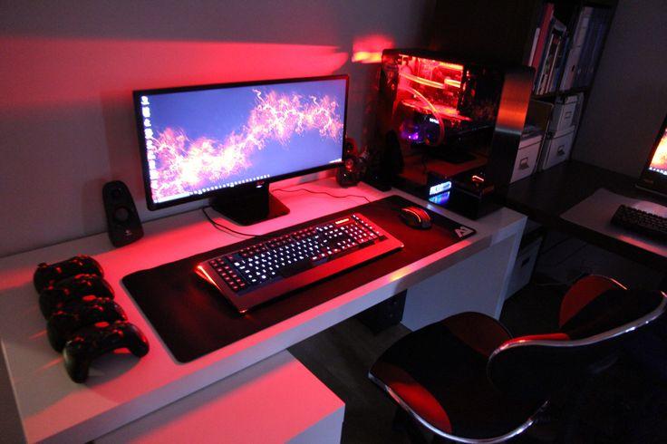 les 25 meilleures id es de la cat gorie pc bureau gamer sur pinterest bureau d 39 ordinateur de. Black Bedroom Furniture Sets. Home Design Ideas
