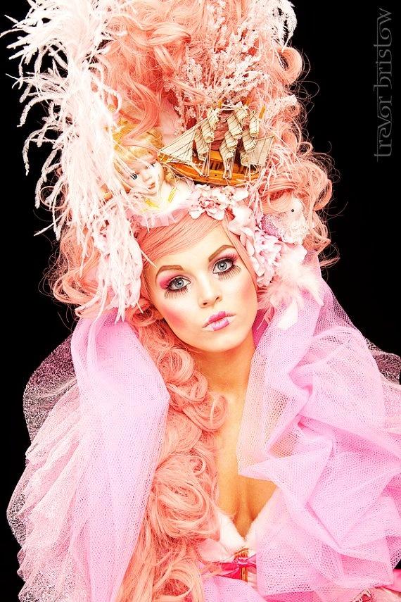 Marie Antoinette Style Headdress Wig halloween rocco victorian pink barbie burlesque princess queen
