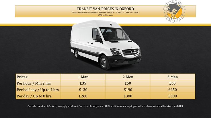 Oxfordshire Removals Man and Van Services Transit Van Prices in Oxford