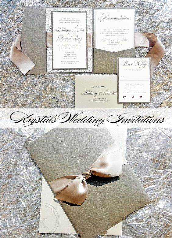 The Bethany Silver and Gray Suite - Satin Ribbon Bow and Lace Pocketfold Wedding Invitation Suite - Krystals Wedding Invitations #weddings #weddinginvitations