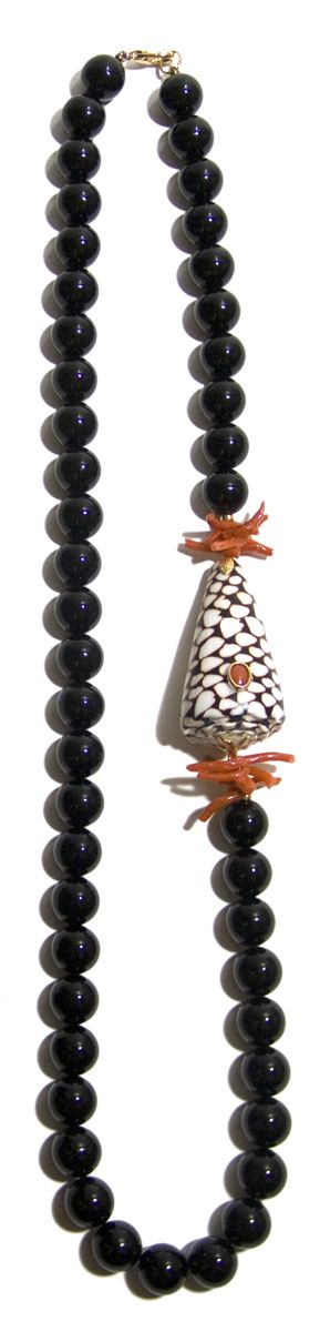 """Helga Wagner Onyx Beads with Red Branch Coral, Marble Cone Shell and Red Coral Cabochon set in 14 K gold, 30""""."""
