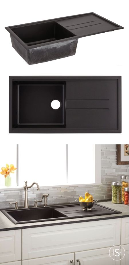 """Can we talk about how perfect this 40"""" Manton Granite Composite Sink with Drain Board would be for your kitchen? Especially with the sleek black finish, this unique kitchen essential has style and convenience built right in!"""
