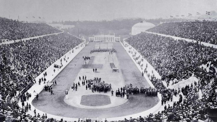 Picture of the day for April 06 2016 at 02:00PM by Bing  Opening ceremony of the 1896 Olympic Games in Panathinaiko Stadium Athens Greece ( Eye Ubiquitous/UIG/Getty Images)   After several attempts to revive an ancient competition The games finally recommenced on this day in 1896  One of the US athletes at these games tried the discus throw on a whim. He won  The first modern Olympic Games included four swimming events but there was no pool. Where did the competitors swim?