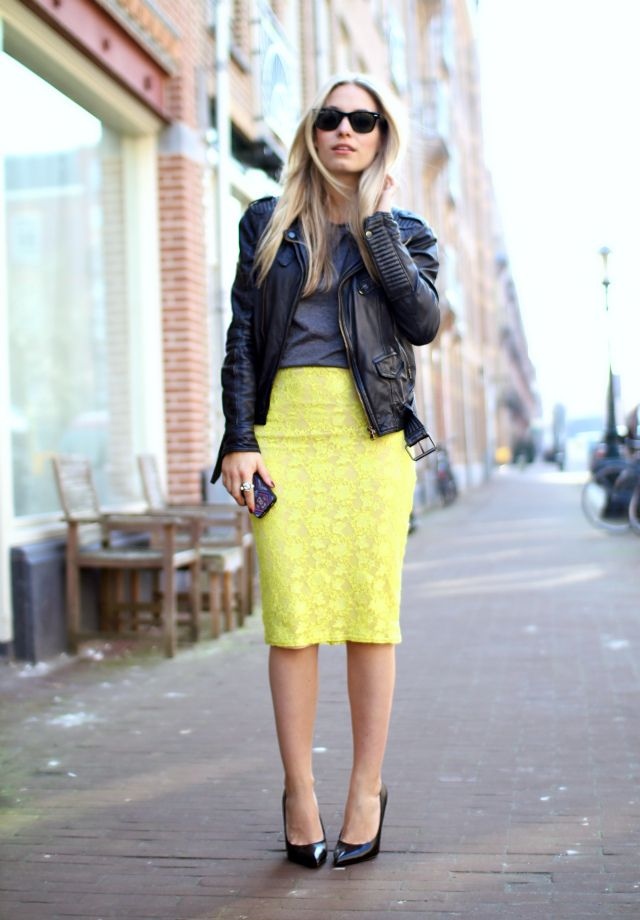 Love the contrast between the top (grey tee & biker jacket) and bottom (bright lace pencil skirt and ladylike pumps).