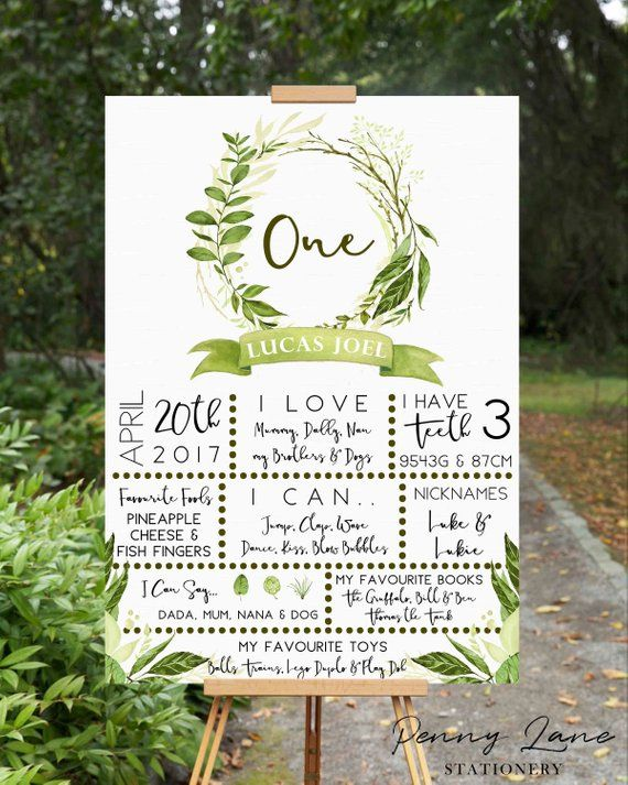 Wild One, Olive Leaf, Milestone Board, Sign, Boys, Girls, Birthday Board, Poster, Greenery, Party Decorations, Leaves, Decor, First, 1st