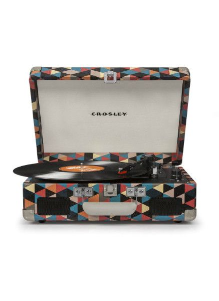 This one's a little unique, with a lovely multicolored case. Best of all, you can carry this adorable portable turntable anywhere! PLAYS: - Records CAN: - Play 33 1/3, 45, and 78 RPM records - Be carr
