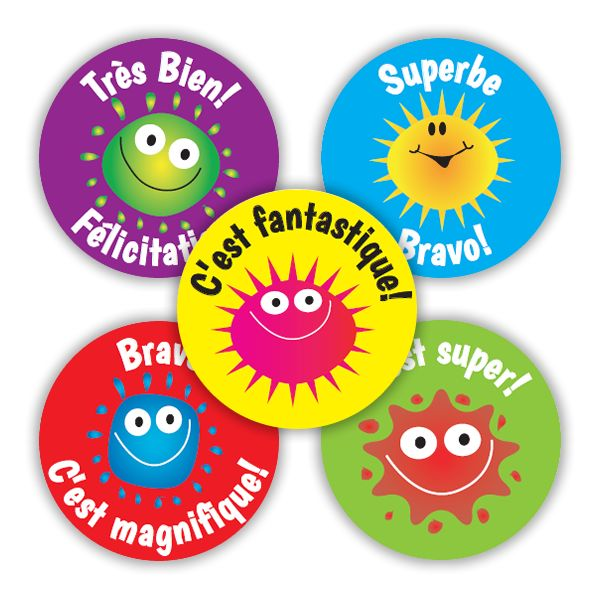 French blobs stickers colourful 28mm stickers to praise and reward french learners messages include