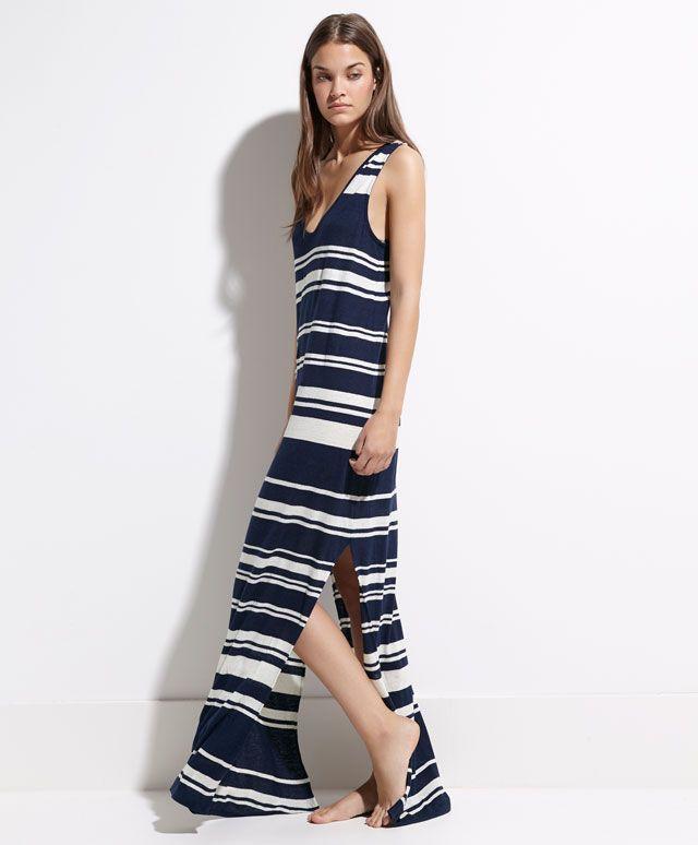 Long nautical stripe dress - DRESSES.