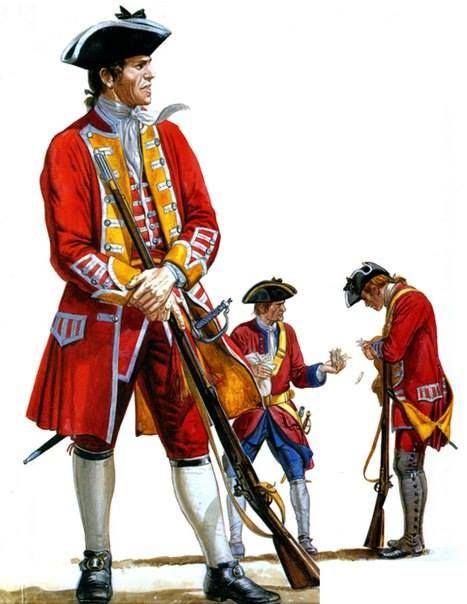 British Army infantry, mid 18th century. Note the soldier in the rear dolling out ammunition cartridges.