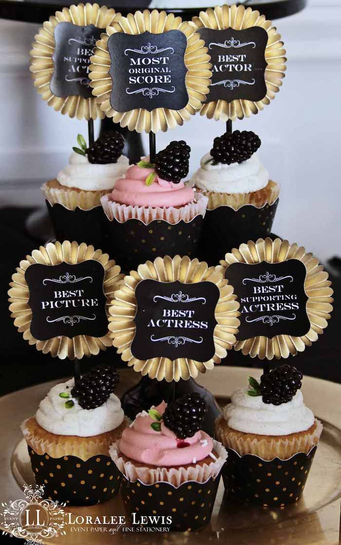 Beautiful Cupcakes from this Oscars + Academy Awards Themed Party with Lots of Really Cute Ideas via Kara's Party Ideas KarasPartyIdeas.com #movieviewingparty #girlsnigh...